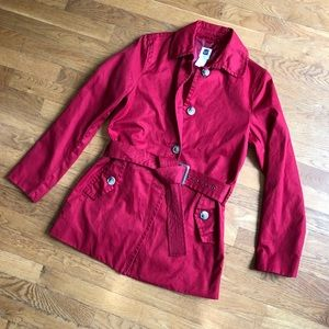 Cherry Red Gap Trench Coat